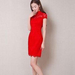 Royal Style - Cap Sleeve Lace Cheongsam