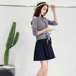 NINETTE - Set: Bow-Accent Top + Skirt
