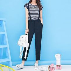 Coolvibe - Set: Short-Sleeve Lettering Top + Suspender Pants