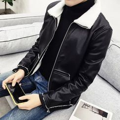 Eight Degrees - Faux Leather Zip Jacket