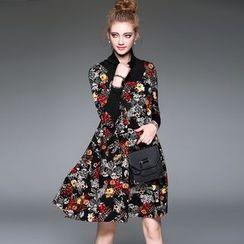 Blue Sky Butterfly - Mock Two-Piece Floral Dress