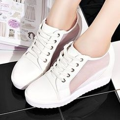YIYA - Mesh Panel Hidden Wedge Sneakers