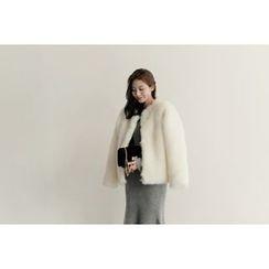 UPTOWNHOLIC - Open-Front Faux-Fur Jacket