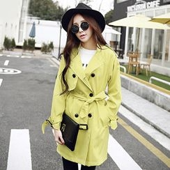 YOZI - Double-Breasted Trench Coat