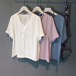 芷蓯夕 - V領短袖雪紡襯衫