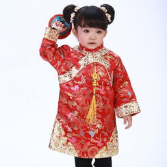 Lotus Seed - Kids Long-Sleeve Party Cheongsam