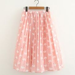 ninna nanna - Swan Print Pleated Skirt