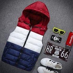 Elkelake - Hooded Color Block Padded Vest