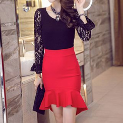 Flore - Ruffled Pencil Skirt