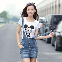 AiSun - Denim Suspender Skirt