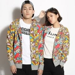 HappyTee - Printed Couple Hooded Jacket