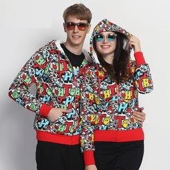 HappyTee - Printed Drawstring Hooded Couple Jacket