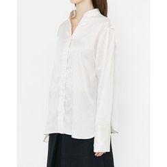 Someday, if - Mandarin-Collar Striped Blouse