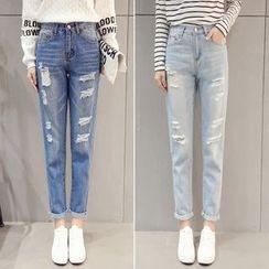Nassyi - Distressed Straight-Cut Jeans