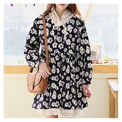 Sechuna - Raglan-Sleeve Floral Pattern Empire Dress