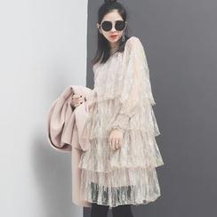 Sonne - 宫廷透视多层网纱立领连衣裙