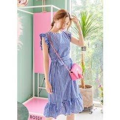 J-ANN - Short-Sleeve Frilled Gingham Midi Dress with Sash