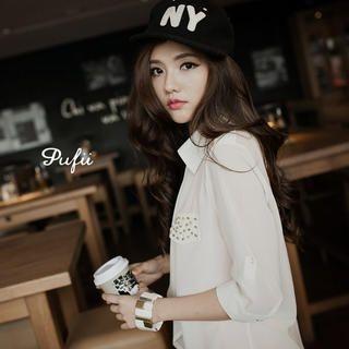 PUFII - Studded-Pocket Open-Front Chiffon Jacket