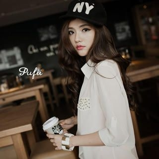 PUFII - Studded-Pocket Open-Front Chiffon Jacket