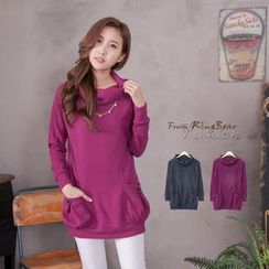 RingBear - Pocket-Accent Turtle-Neck Hooded Long-Sleeve Top