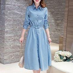 Neeya - 長袖牛仔布飾領連衣裙