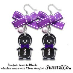 Sweet & Co. - Lovely Violet Ribbon & Bowtie Penguin Earrings