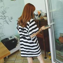 REDOPIN - Bell-Sleeve Striped Mini Dress