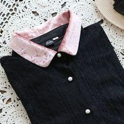 YOYO - 配色邊蕾絲襯衫