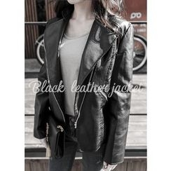 J-ANN - Faux-Leather Riders Jacket