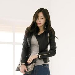 GUMZZI - Quilted Faux-Leather Jacket
