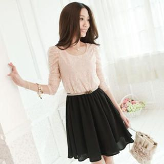 Tokyo Fashion - Lace-Bodice Belted Dress