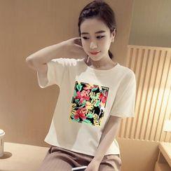 SUYISODA - Print Short-Sleeve T-Shirt