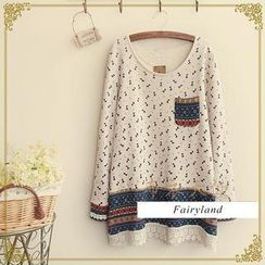 Fairyland - Crochet Trim Print Long-Sleeve Top