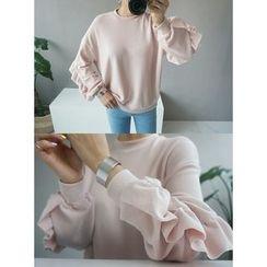 STYLEBYYAM - Frill Trim-Sleeve Sweatshirt