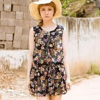 CatWorld - Drawstring-Waist Floral Sleeveless Dress