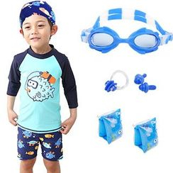 Aqua Wave - Kids Set : Monster Rashguard + Swim Shorts + Swim Hat