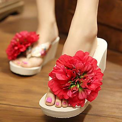 Sunset Hours - Corsage Wedge Flip-Flops
