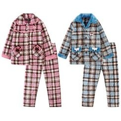 Hodohome - Kids Pajama Set: Quilted Plaid Shirt + Pants