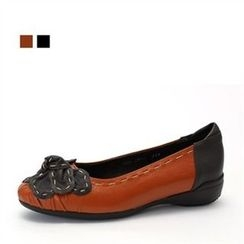 MODELSIS - Genuine Leather Bow-Accent Flats