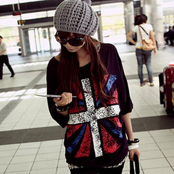 JVL - Elbow-Sleeve 'Union Jack' Print Top