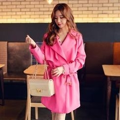 it's girl - Double-Breasted Trench Coat with Sash