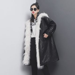 Sonne - Furry-Accent Faux-Leather Hooded Coat