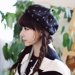 SOCOOL - 交叉印花貝雷帽