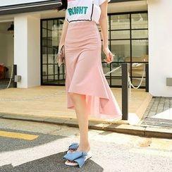Seoul Fashion - Asymmetric-Hem Midi Skirt