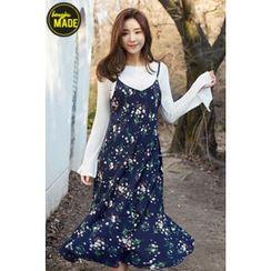 BONGJA SHOP - Floral Patterned V-Neck Sleeveless Ruffle-Hem Dress