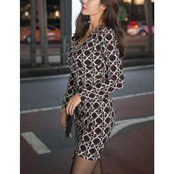 GUMZZI - Wrap-Front Patterned Bodycon Dress