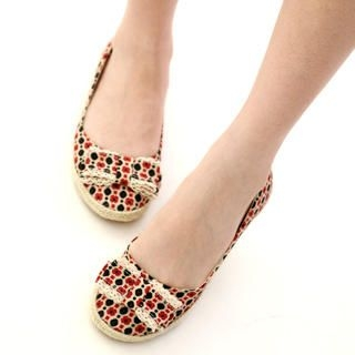 59 Seconds - Polka-Dot Bow-Accent Flats