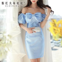 Dabuwawa - Off-Shoulder Bow-Accent Sheath Party Dress