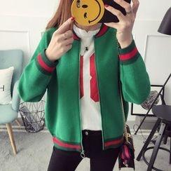 Qimi - Striped Zip Cardigan