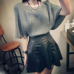 Honeydew - Set: Ribbed Knit Top + Faux Leather Skirt